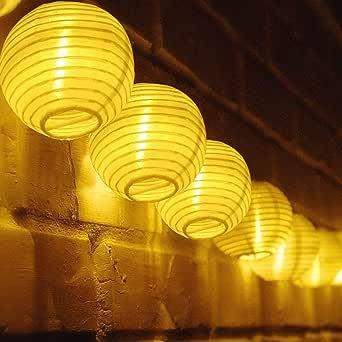 TR Turn Raise 4.8 Metros 20 LED Guirnaldas de Luces Farolillos Solares Exterior Impermeable para Decoración Jardines Casas Bodas (Blanco cálido): Amazon.es: Hogar