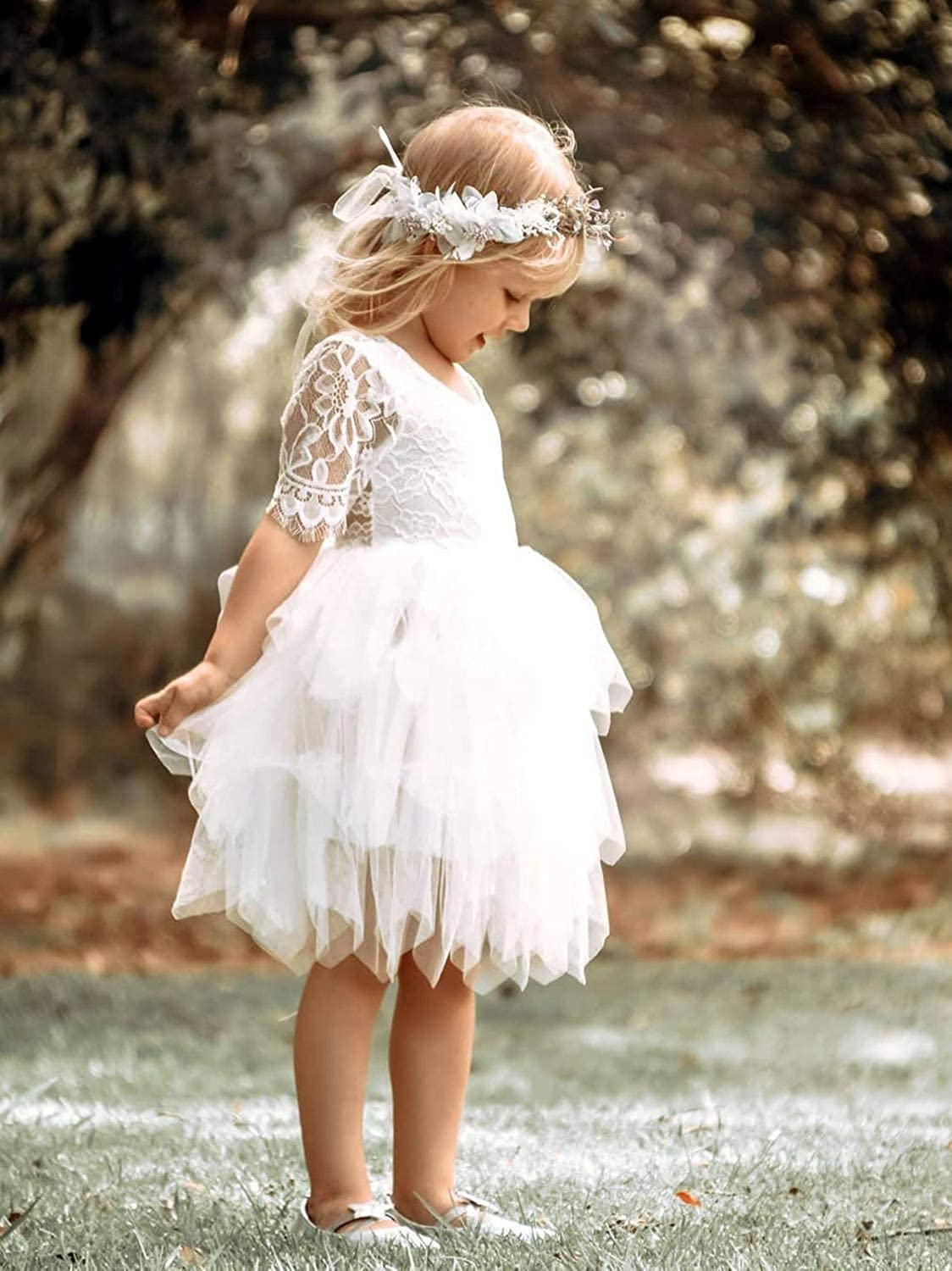 2Bunnies Girl Rose Lace Back A-Line Straight Tutu Tulle Party Flower Girl Dresses