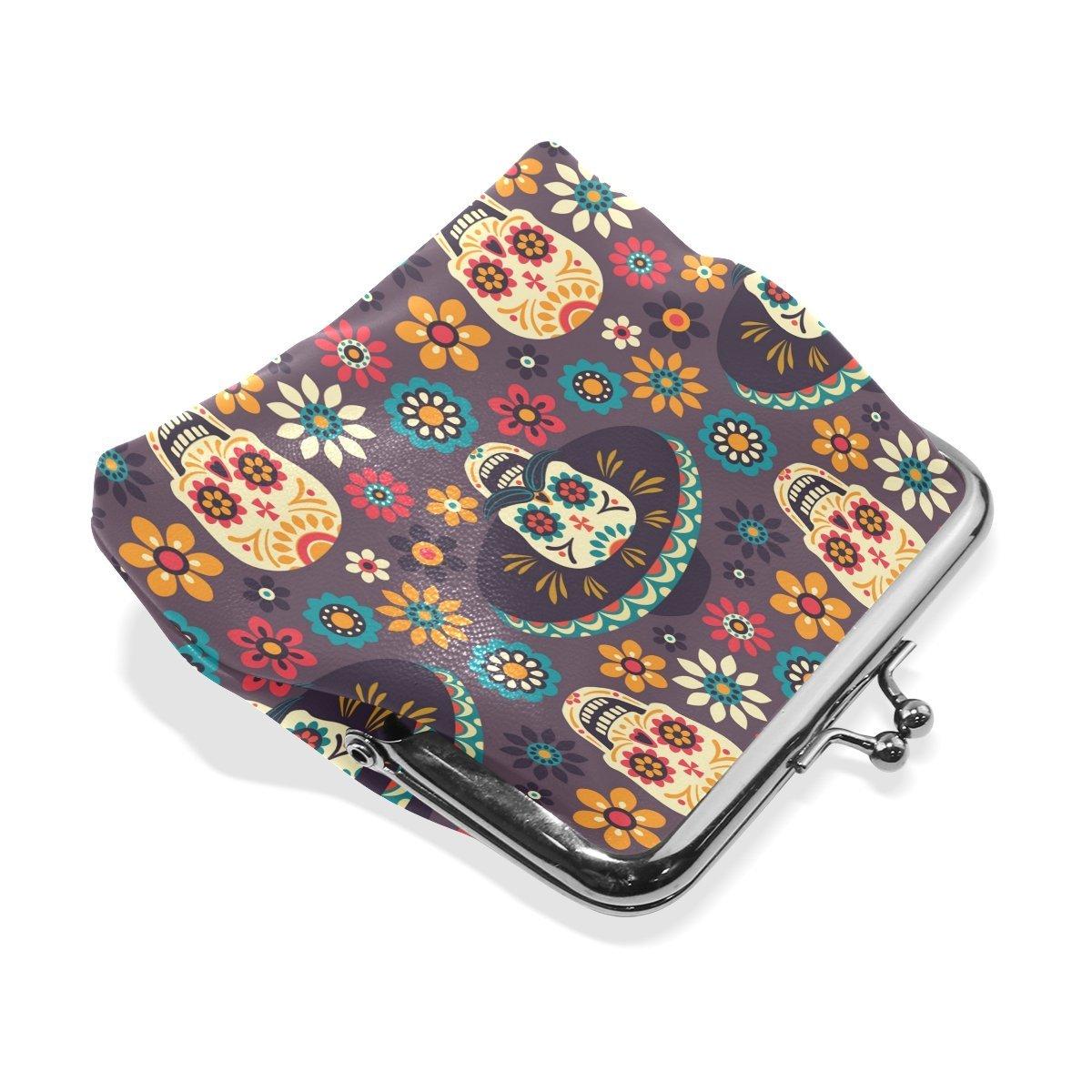 Amazon.com: Monedero de piel con diseño de calaveras ...
