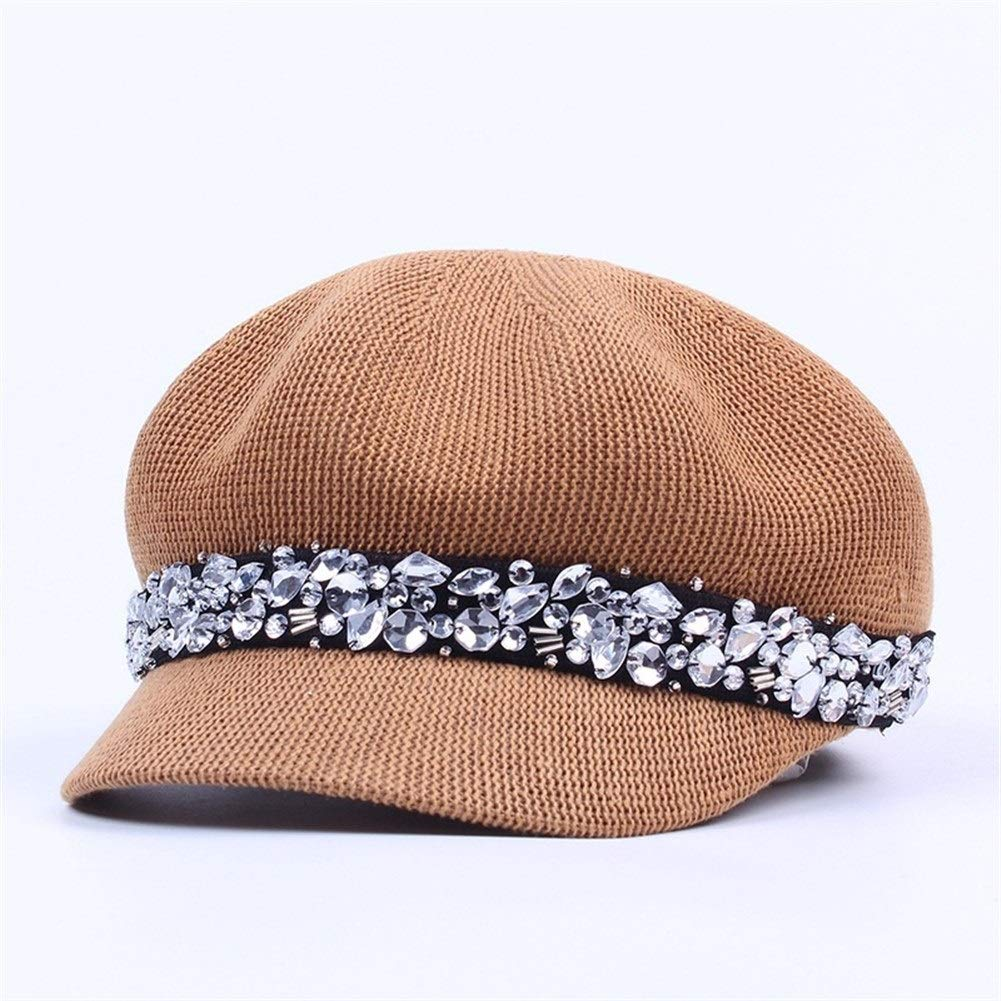 New Crystal Octagonal Hats Women Cotton Mesh Breathable Hat Summer Rhinestone Newsboy Cap Female Visor Outdoor Casual Cap (Color : Brown, Size : M) by ERNANGUA