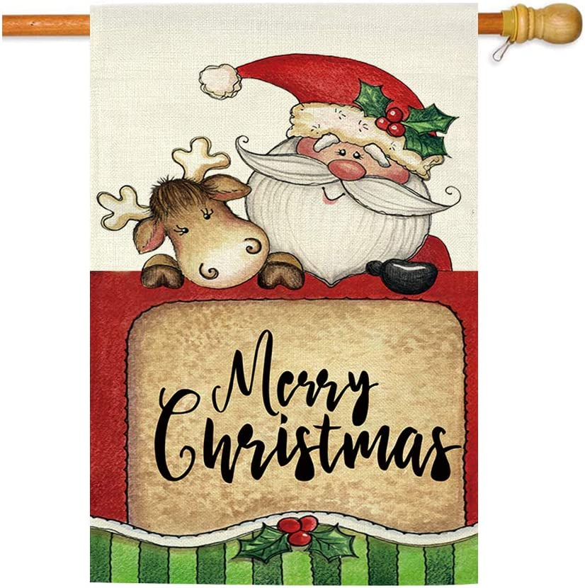 GOAUS Merry Christmas House Flag,Santa Claus and Cute Sleigh Reindeer,Double Sided Burlap Decorative Garden Flags for Home Lawn 28 x 40 inch Yard Indoor Outdoor Decor,28 x 40 Inch