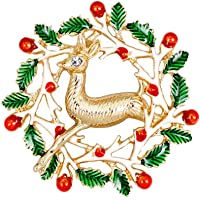 Sanwooden Fashion Christmas Brooch Pin, Clothes Decoration Creative pin Christmas Wreath Bird Brooch Christmas Jewelry