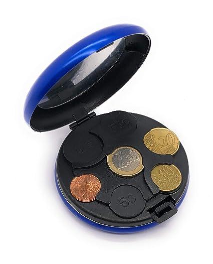 MovilCom ® Monedero Organizador de Monedas clasificador de Aluminio | Monedero metalico | Porta Monedas - Azul