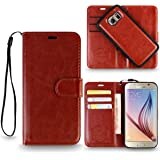 REALIKE™ {Imported} Premium Leather Flip plus Back (Two in One) Case for Samsung Galaxy S6 (Royalty Series- Brown)