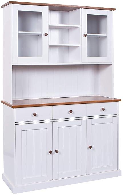 H24living Vitrine Anrichte Esszimmerschrank Küchen-Schrank im Landhaus-Stil  Bauern-Schrank aus Massivholz (Weiß-Sepia, 3 Türen)