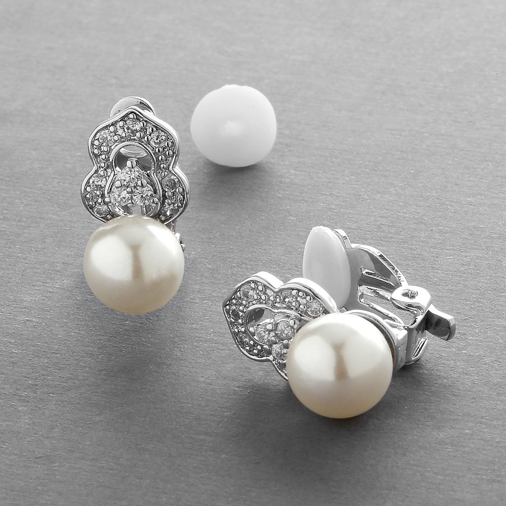 Mariell Clip On Pearl Bridal Earrings with Art Deco Vintage Wedding Style - Cream Pearls & Pave CZ Accent by Mariell (Image #6)