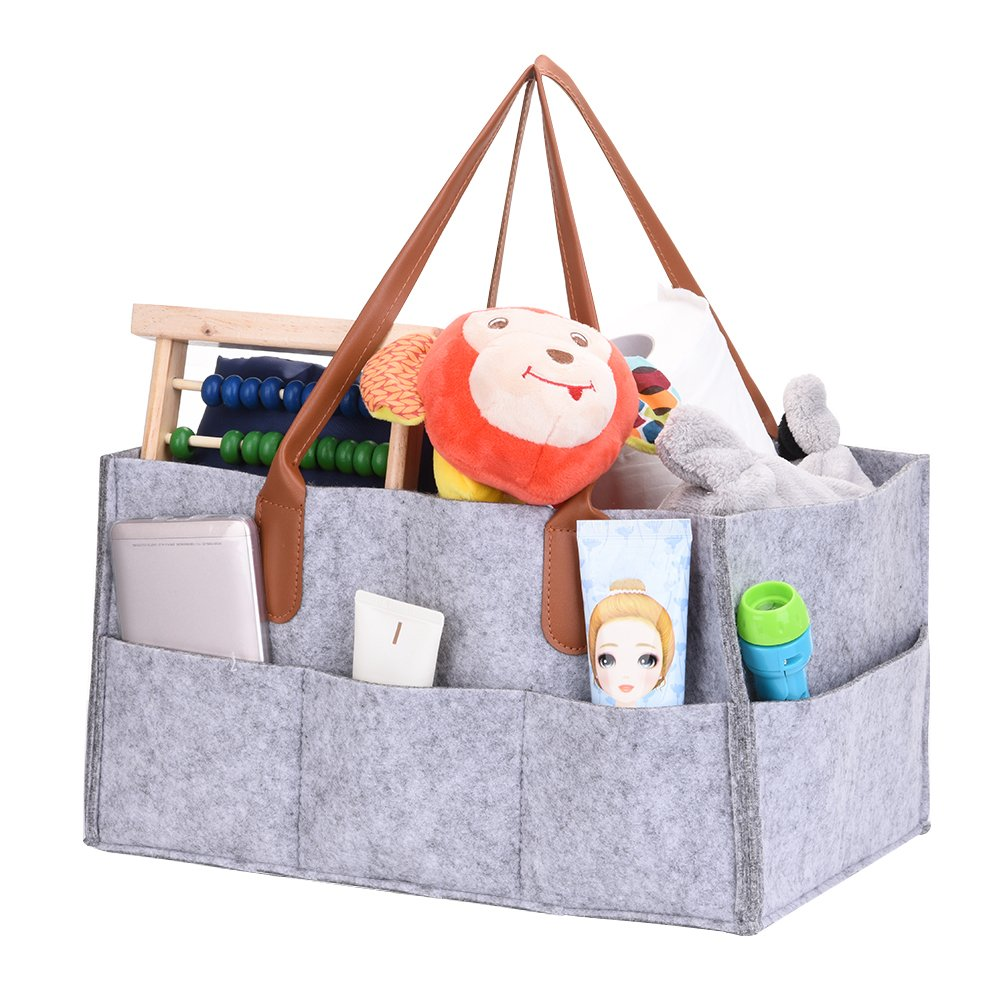 Longshow Baby Diaper Caddy Nursery Storage Organizer Storage Caddy Car Organizer Basket for Diapers Baby Wipes Toys