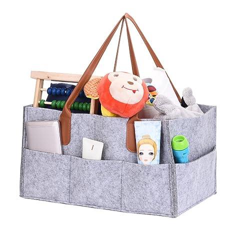Pañales Caddy organizador con asa para ropa/toallas/pañales Caddy, plegable bolsa de almacenamiento de fieltro niños juguetes bolsa organizador gray: ...