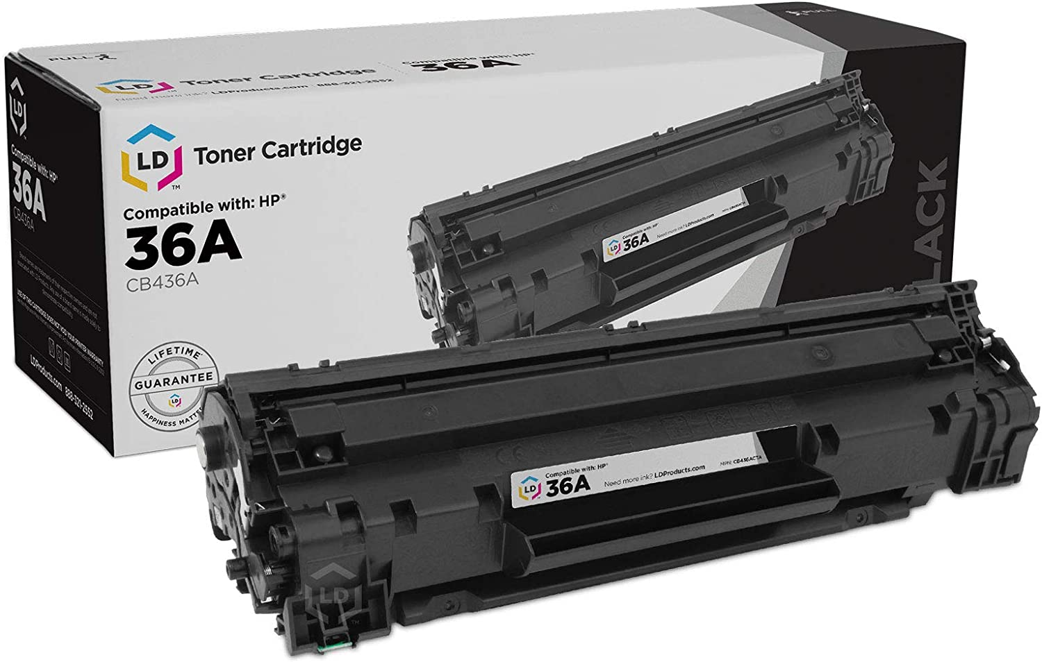 LD Compatible Toner Cartridge Replacement for HP 36A CB436A (Black)