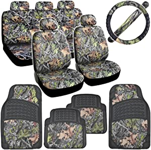BDK Hawg Camo Seat Covers Heavy Duty Rubber Floor Mats w/Camouflage Inlay & Cushion Grip Steering Wheel Cover Set