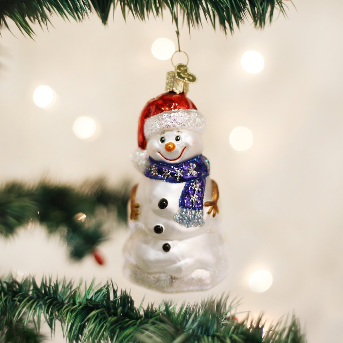 Amazon.com: Old World Christmas Ornaments: Happy Snowman Glass Blown ...