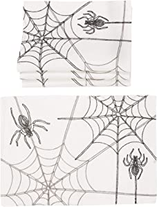 Xia Home Fashions Halloween Spider Web Placemat, 14''x20'', White