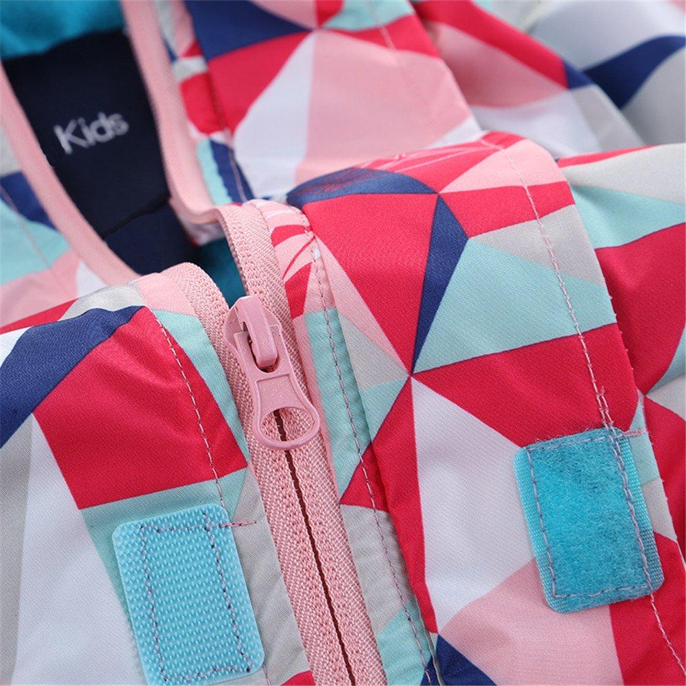 Hiheart Girls Waterproof Fleece Lined Jacket Hood Windproof Rain Coat Pink 9/10 by Hiheart (Image #6)
