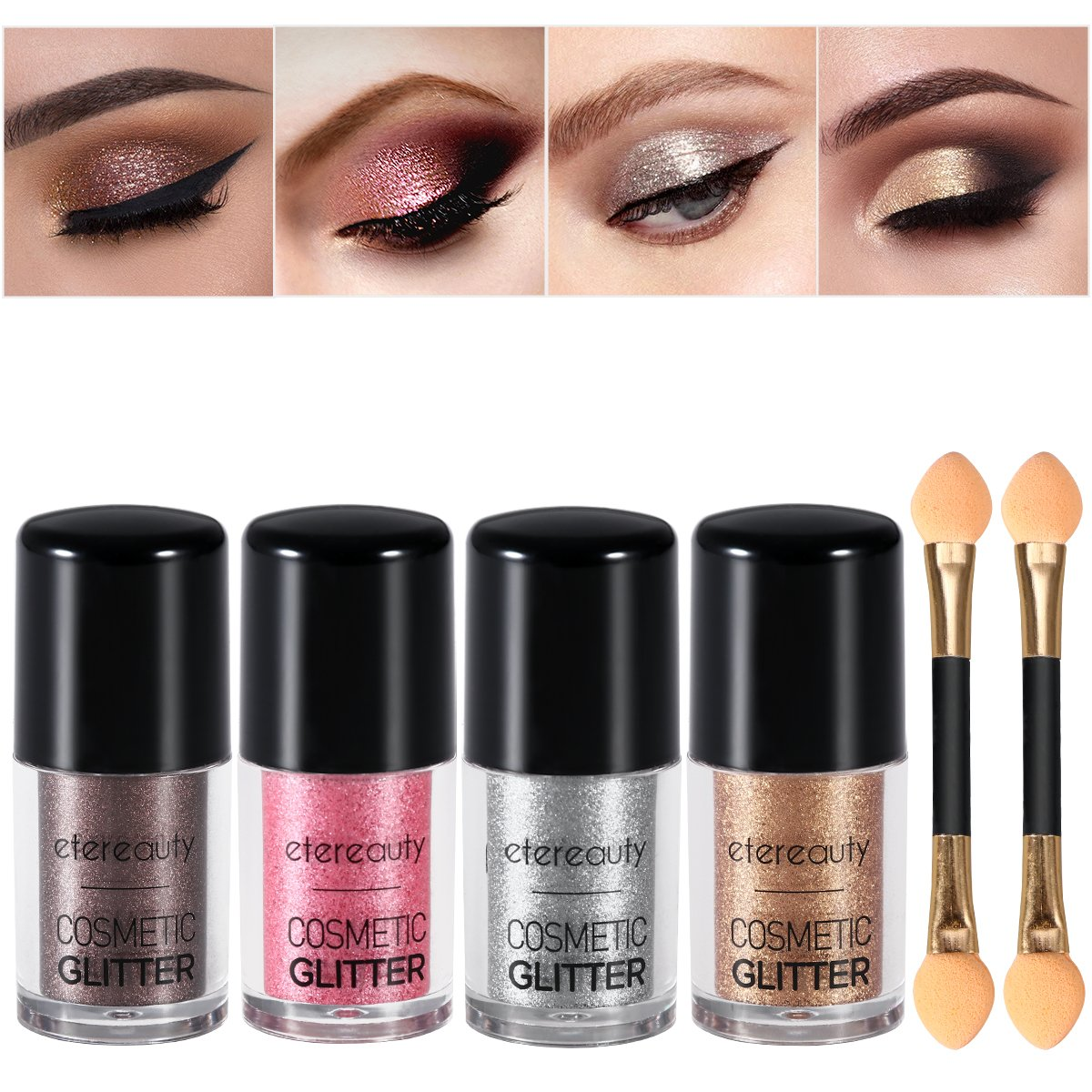 Glitter Eyeshadow, ETEREAUTY 4 Colors Glitter Powder Loose with Eyeshadow Brush