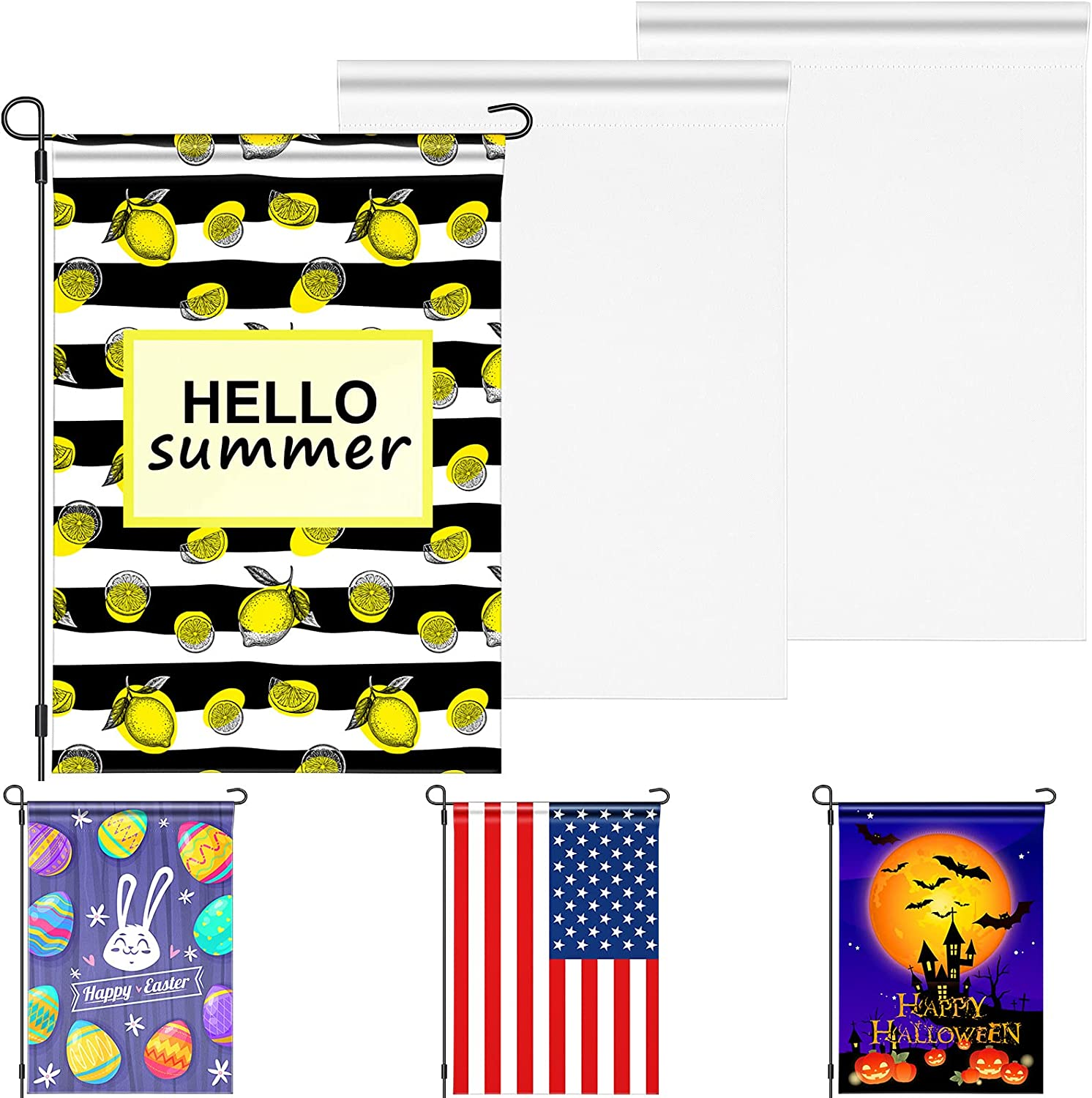 3 Pieces Sublimation Blank Garden Flag Double-Sided DIY Polyester Garden Flags for Outdoor Courtyard Party Home Decoration (3 Pieces,12 x 18 Inch)