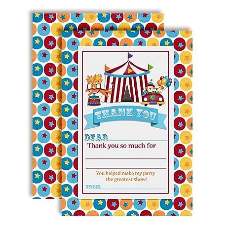 Amazon Com Circus Carnival Birthday Thank You Notes For Kids Ten