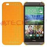 TECHGEAR® HTC One M8 DOT MATRIX VIEW Flip Case Cover With Auto Sleep Wake Function (ORANGE)