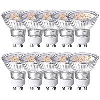 GVOREE 4W GU10 Lot de 10 LED Blanches Chaudes 3000K, 400lm,AC 220V-240V,Équivalente à Incandescence 40W, 120° Larges Faisceaux,Ampoule LED GU10,Spot Light Lampe