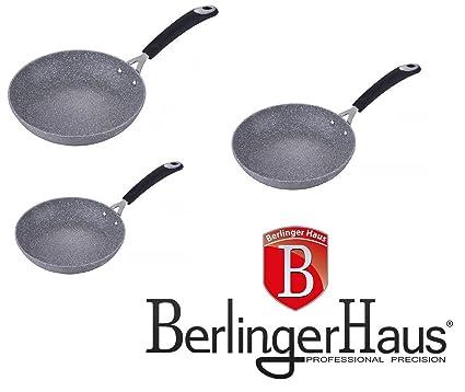 Top SHOP Berlinger Haus Juego 3 Sartenes de mármol antiadherente Excelente Calidad Alemán Gris