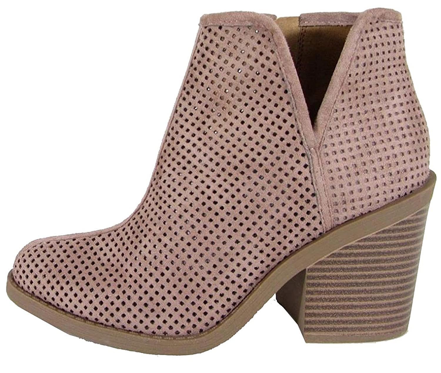 SodaWomens Tarpon Perforated Stacked Block Heel Ankle Bootie
