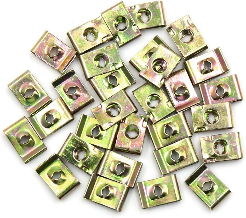 X AUTOHAUX 30 Piezas de Tornillos de fijaci/ón para Placa de Parachoques de Coche con Clip de Cierre Tipo U
