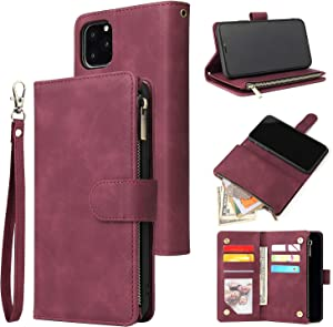 SZCINSEN Wallet Case for iPhone 11,Premium Soft PU Leather Zipper Flip Folio Wallet with Wrist Strap Card Slot Kickstand Protective Case for iPhone 11 (Color : Wine red)
