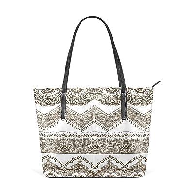 Womens Leather Top Handle Shoulder Handbag Flower Pattern Large Work Tote Bag durable modeling