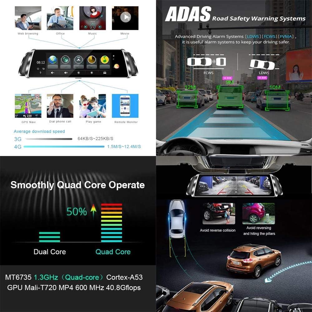 Conducir grabadora, 9,35 pulgadas Pantalla táctil 1080p HD Medios de transmisión Espejo inteligente Conducir grabadora, con G-Sensor, ADAS, GPS, Detección de movimiento, Vision nocturna: Amazon.es: Coche y moto