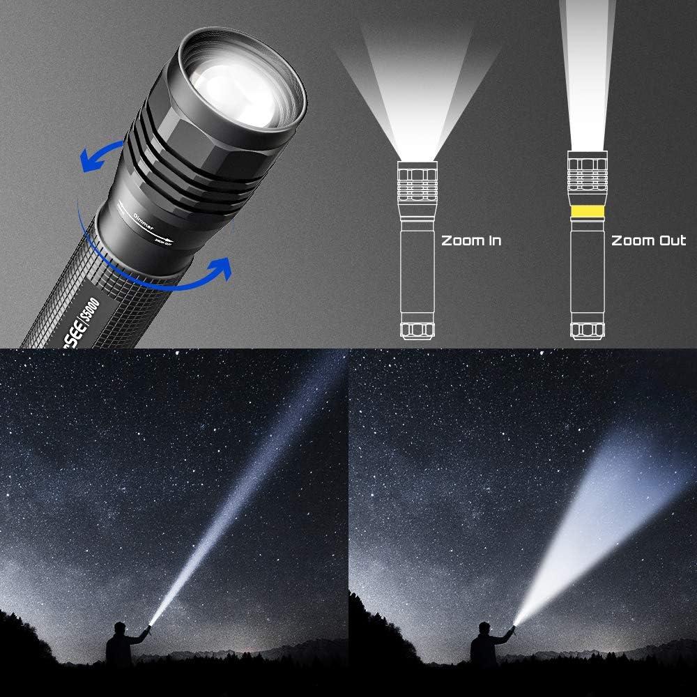 4 Modos Linternas Potentes para Caza Linterna Linternas LED Alta Potencia Resistente al Agua Linterna Tactica Militar para Ciclismo C/ámping 2000 Lumen Linterna Potente LED de Enfoque Ajustable