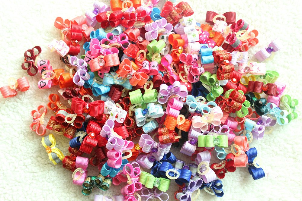 50Pcs Handmade Small Dog Bow Diamond Grooming Bows pet Hair Bows for Puppy Dogs Accessories Boutique Products color Party