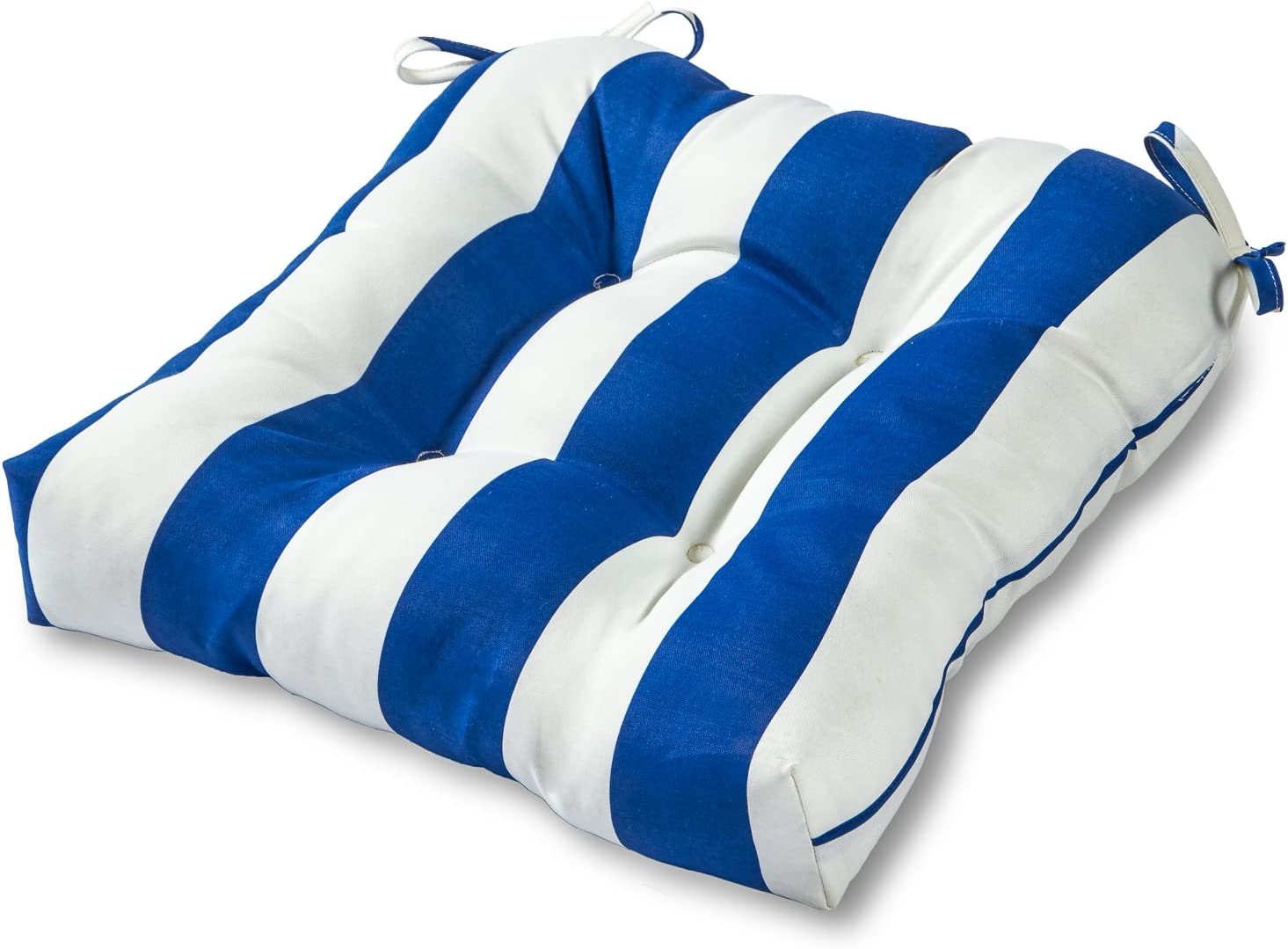 Greendale Home Fashions AZ4800-CABANA-BLUE Bungalow Stripe Blue 20-inch Outdoor Dining Seat Cushion