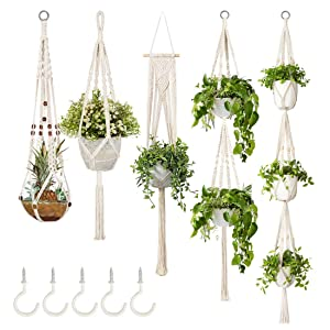5-Pack Macrame Plant Hangers w/ 5 Hooks, Different Tiers, Handmade Cotton Rope Hanging Planters Set Flower Pots Holder Stand, for Indoor Outdoor Boho Home Decor
