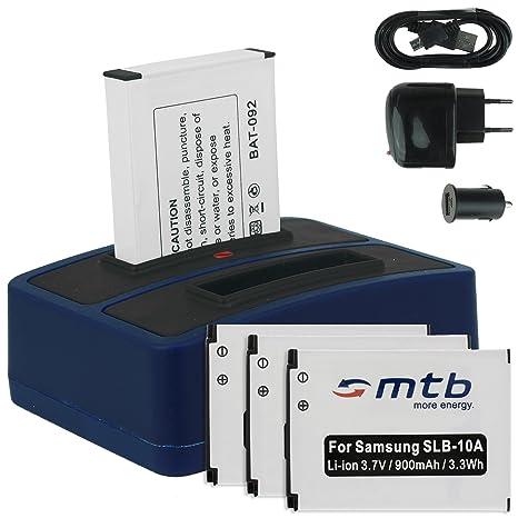 4x Baterías + Cargador doble (USB/Coche/Corriente) para Samsung SLB-10A / Toshiba Camileo X-Sports / JVC Adixxion / Silvercrest / Medion Action Cam.. ...