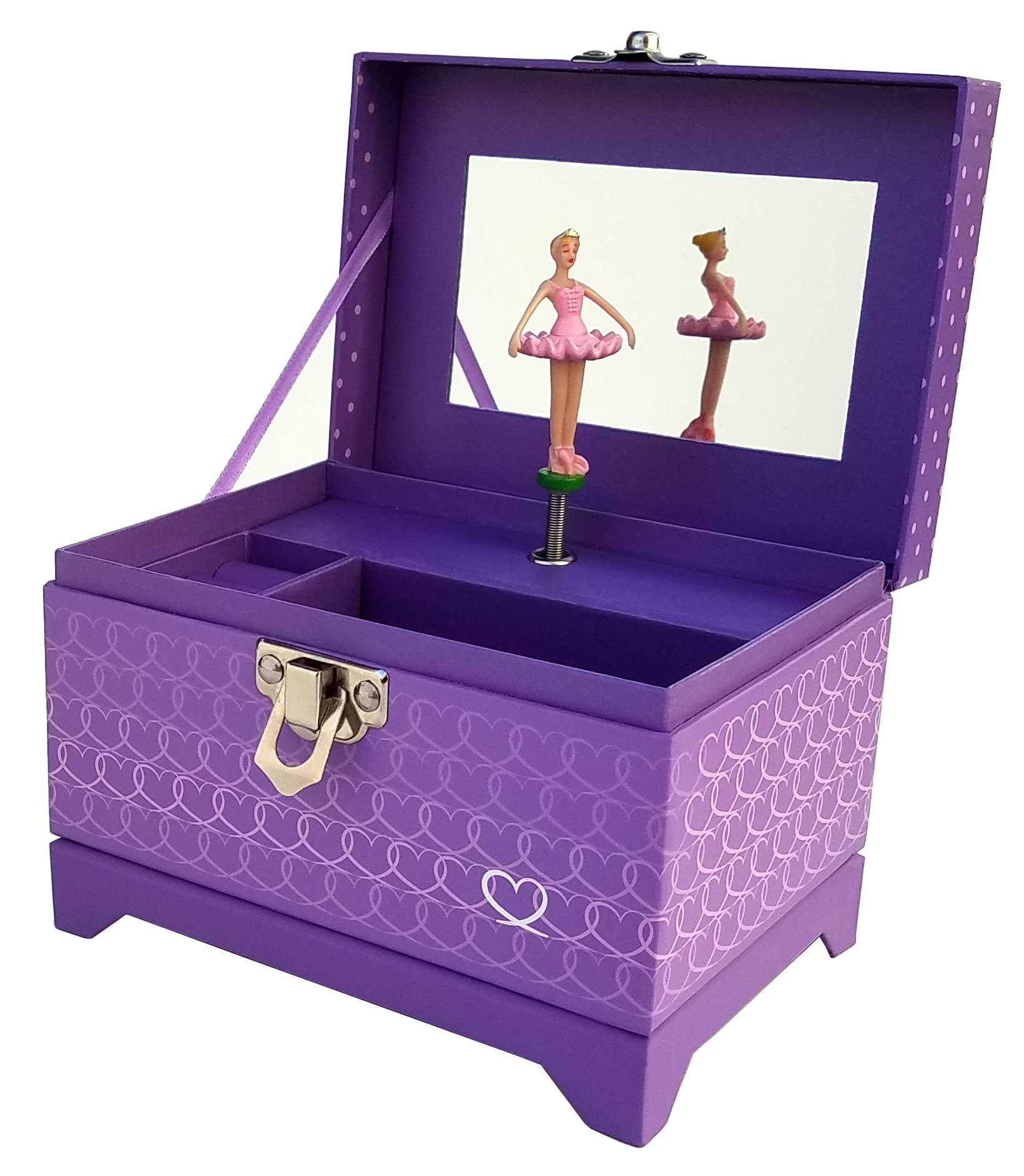 My Tiny Treasures Box Co. Heart Ballerina Music Box - Purple