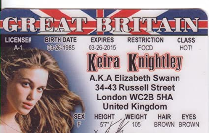 Britain com Knightley Aka Novelty Identification Elizabeth Signs4fun Drivers Swann Games Fans Toys For Pirates Fake d Great The Of I Amazon Keira Caribbean amp; License By