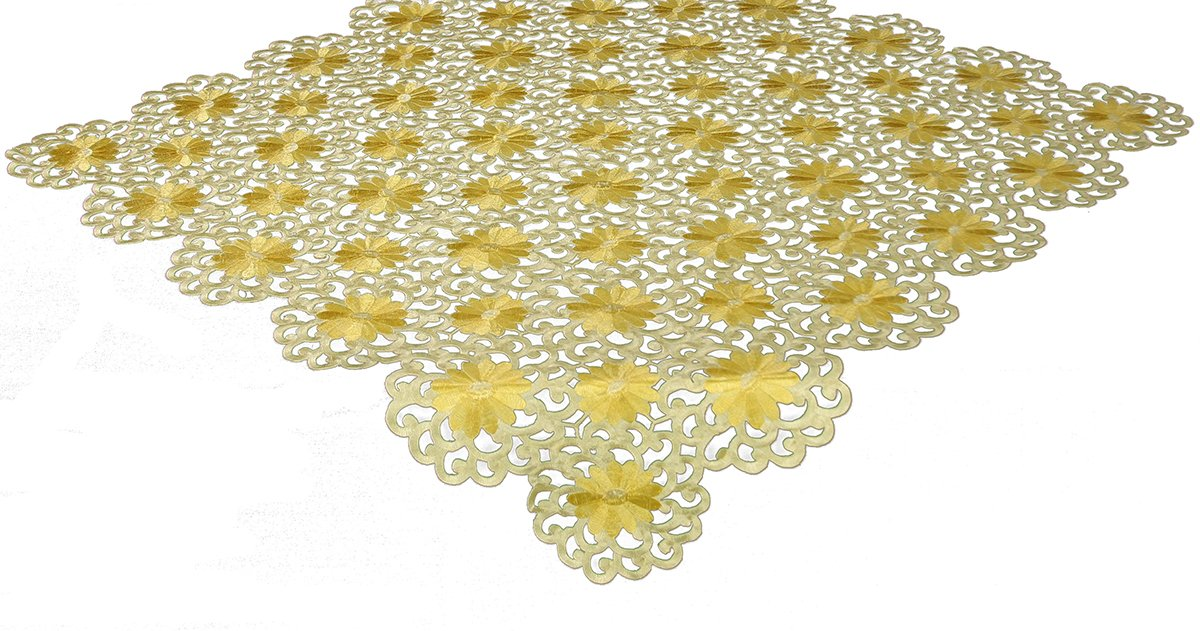 Xia Home Fashions Daisy Splendor Embroidered Cutwork Spring Table Topper, 34 by 34-Inch, Yellow