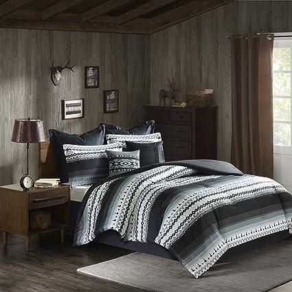 8 Piece Black Grey Southwest Comforter Queen Set, Native American  Southwestern Bedding, Horizontal Tribal