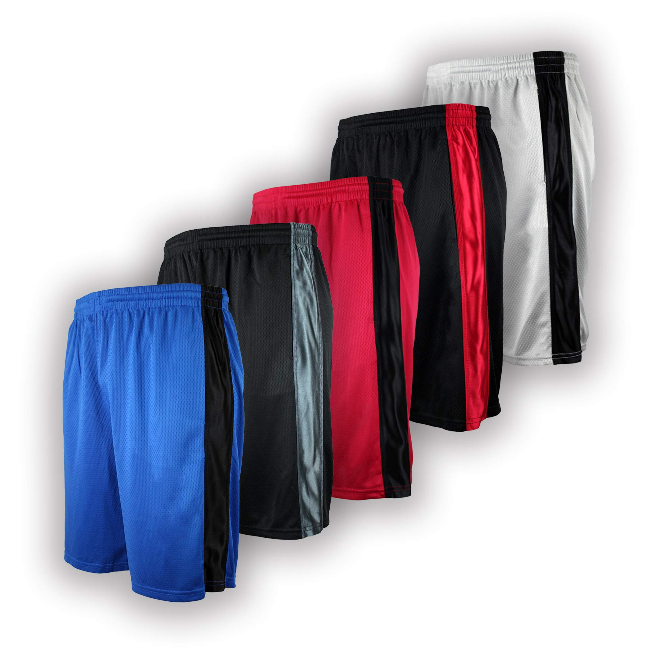 Men's Premium Active Athletic Performance Shorts with Pockets - 5 Pack (blk/Char, Grey, blk/red, red, Royal, 4X-Large)