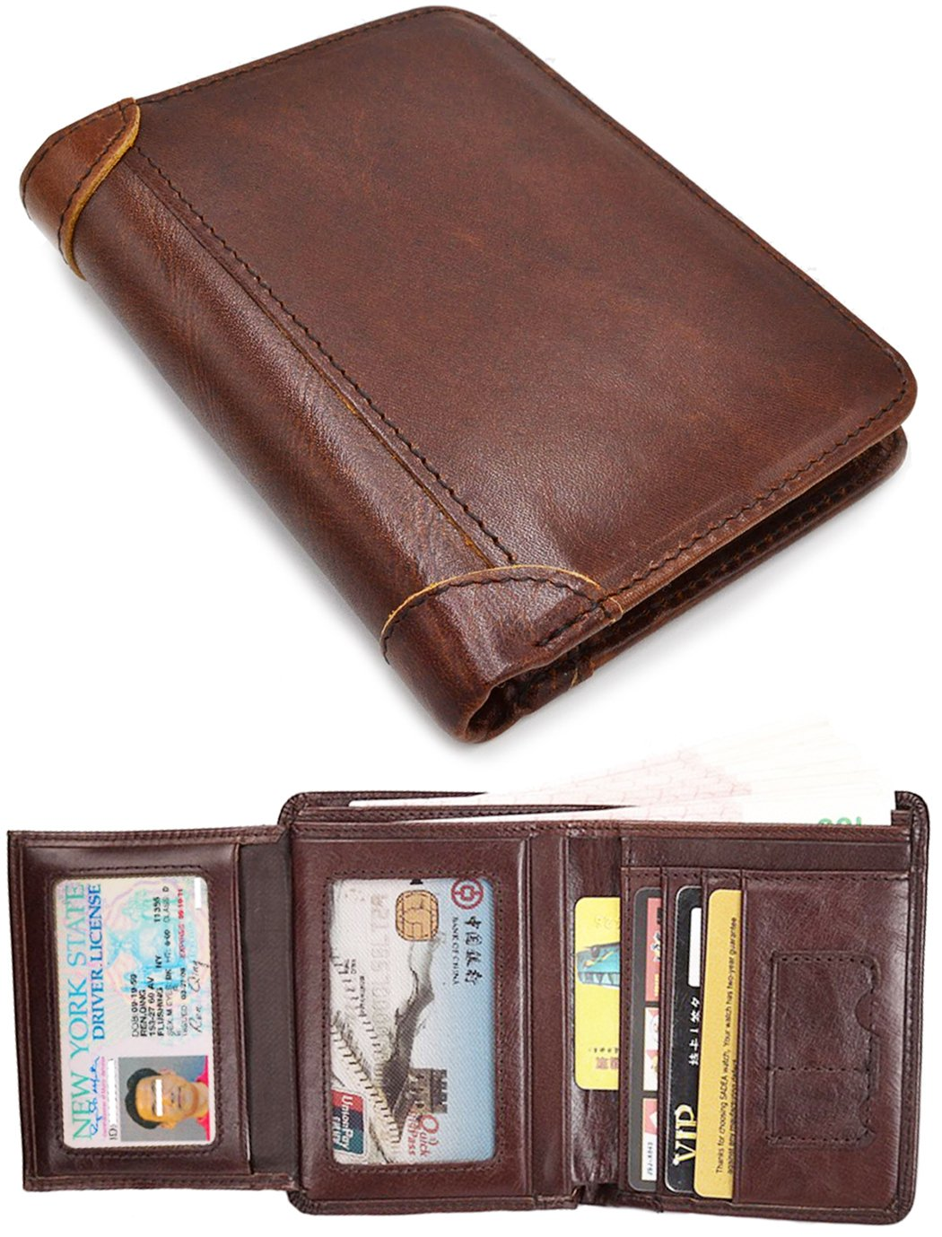 RFID Blocking Wallet Retro Cowhide Leather Short Bifold Wallet With 2 ID windows
