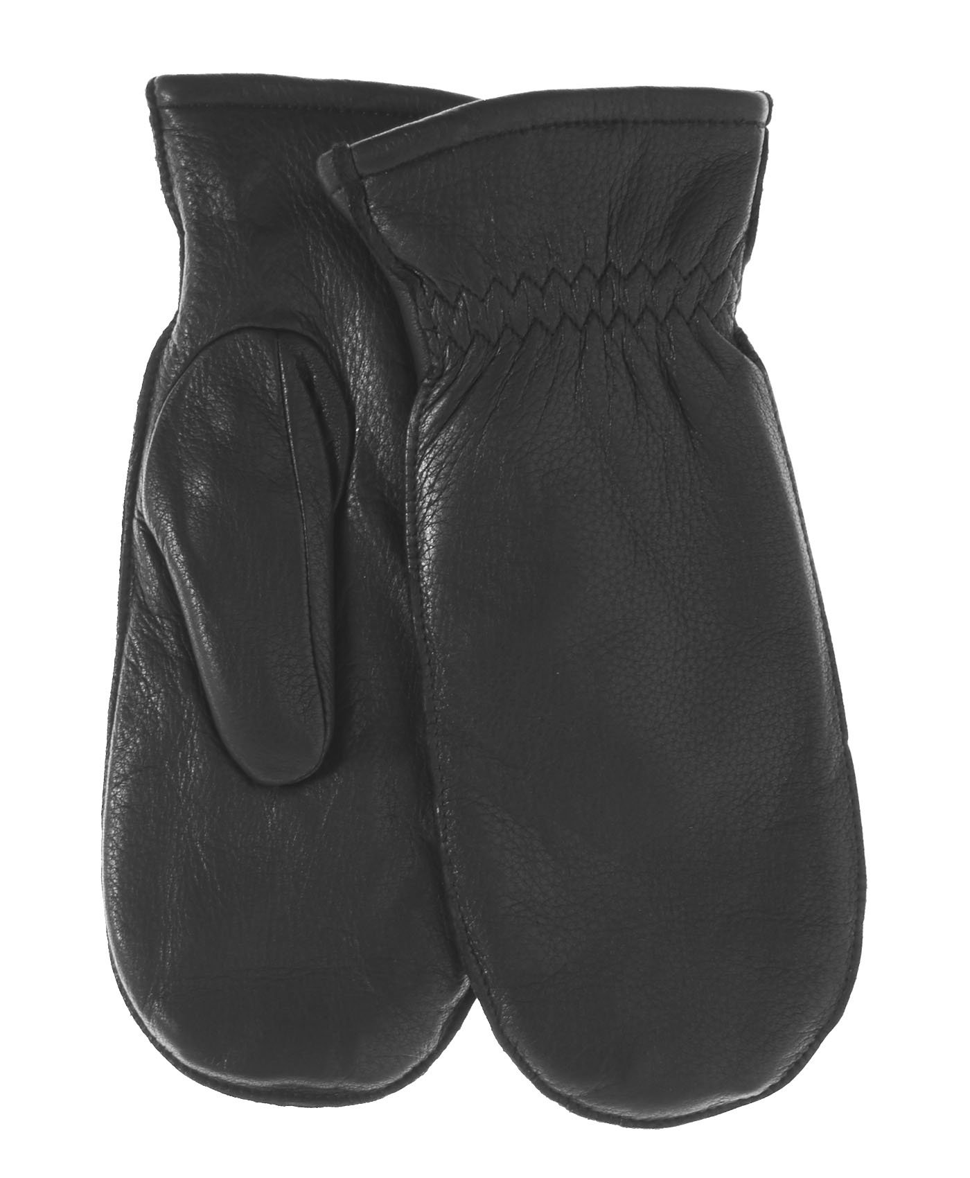 Pratt and Hart Women's Winter Deerskin Leather Mittens with Finger Liners Size L Color Black