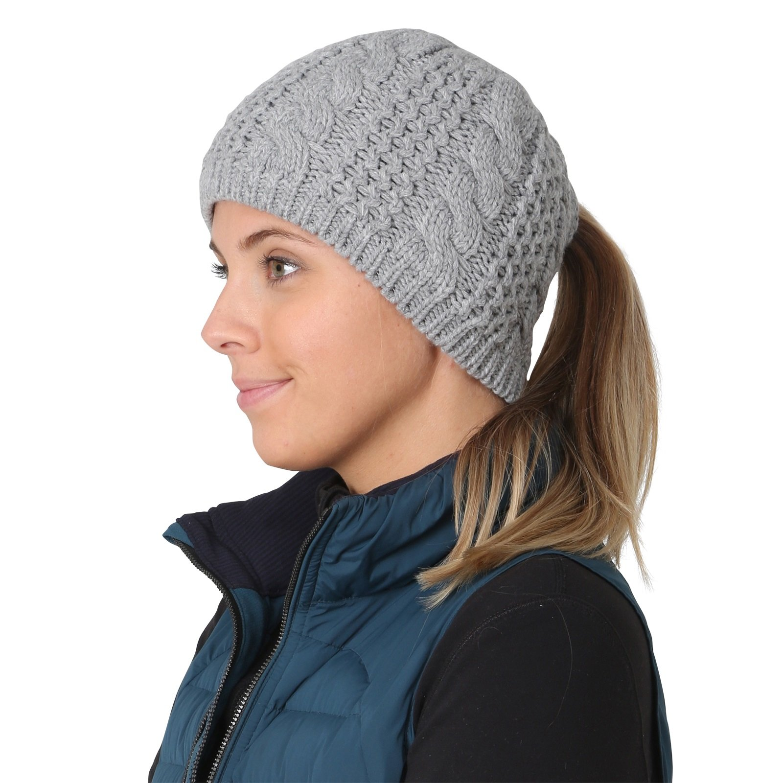 TrailHeads Women's Cable Knit Ponytail Beanie - storm grey by TrailHeads (Image #3)