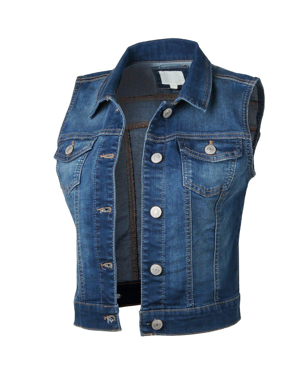 Dream Supply Womens Juniors Sleeveless Button up Jean Denim Crop Top Jacket Vest