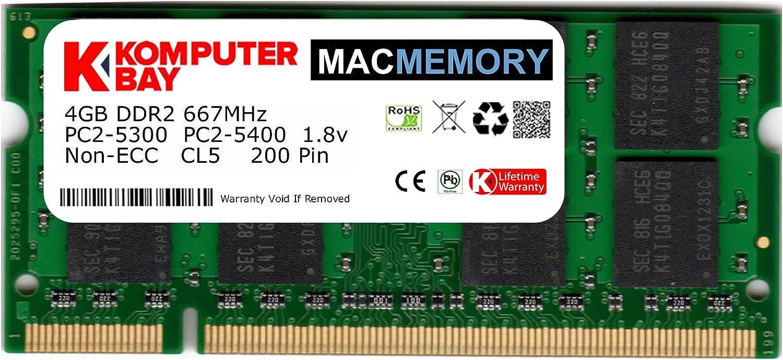 Komputerbay MACMEMORY Apple 4GB (Single 4GB Stick) PC2-5300 667MHz DDR2 SODIMM iMac and MacBook Memory