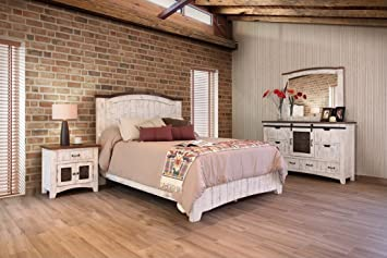 Amazon.com: 5 Piece Anton Distressed White Sliding Barn Door King ...
