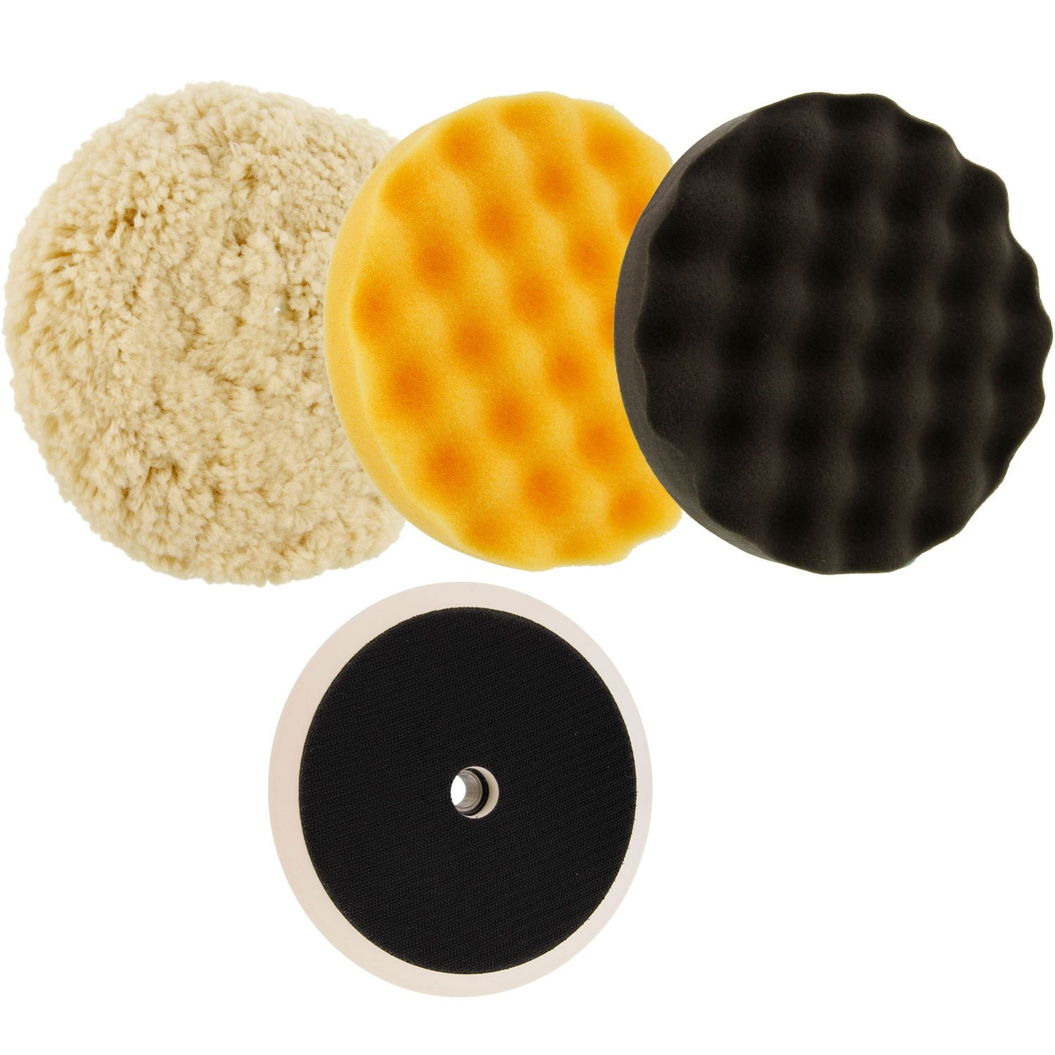 TCP Global Complete 3 Pad Buffing and Polishing Kit with 3 - 8'' Pads; 2 Waffle Foam and 1 Wool Grip Pads and a 5/8'' Threaded Polisher Grip Backing Plate