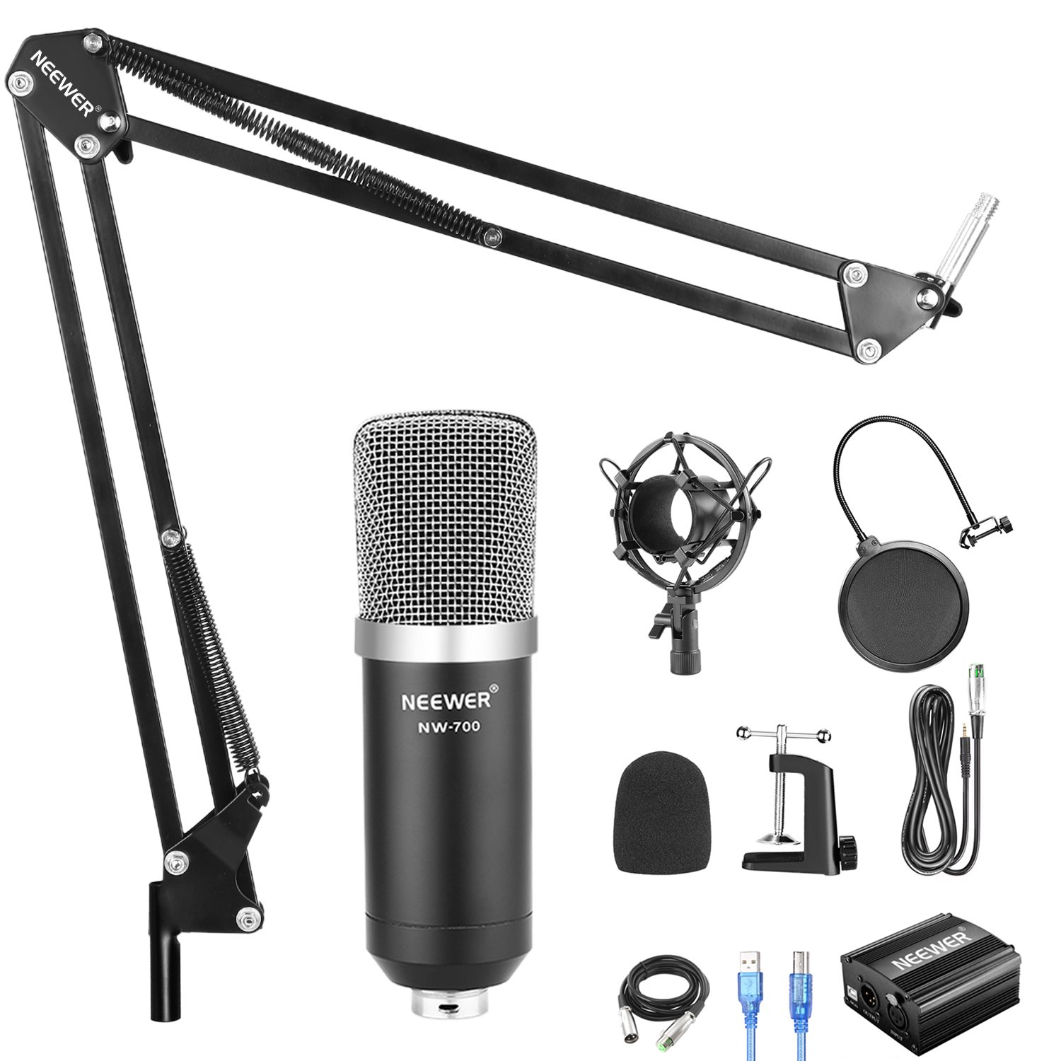 Neewer NW-700 Condenser Microphone Kit with USB 48V Phantom Power Supply, NW-35 Suspension Scissor Arm Stand, Shock Mount, Pop Filter for Home Studio Recording Broadcast YouTube Live Periscope(Black) by Neewer (Image #2)