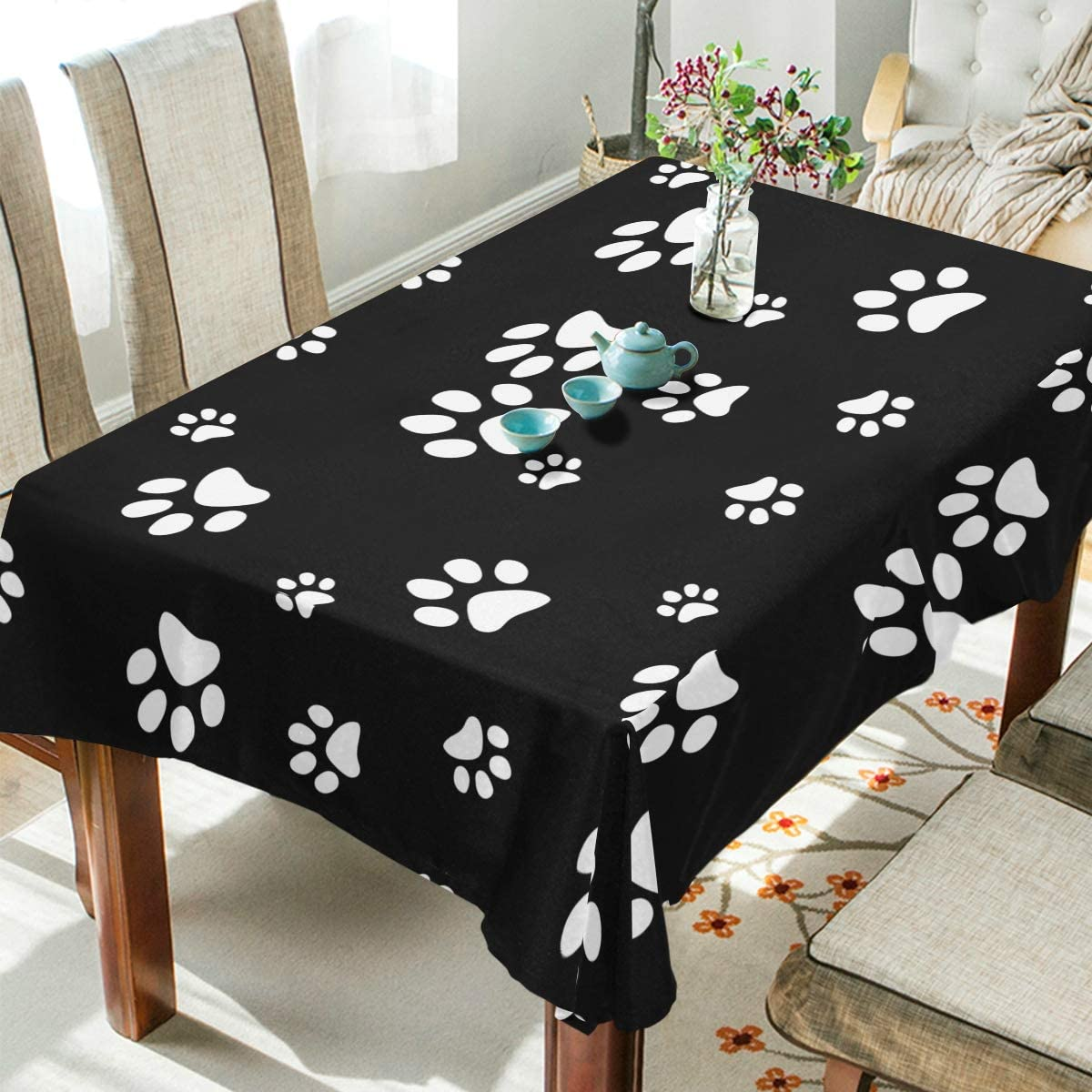 WOZO Rectangular Cute Puppy Pug Dog Paw Print Tablecloth Table Cloth Cover for Home Decor Dinner Kitchen Party Picnic Wedding Halloween Christmas 54x72 inch