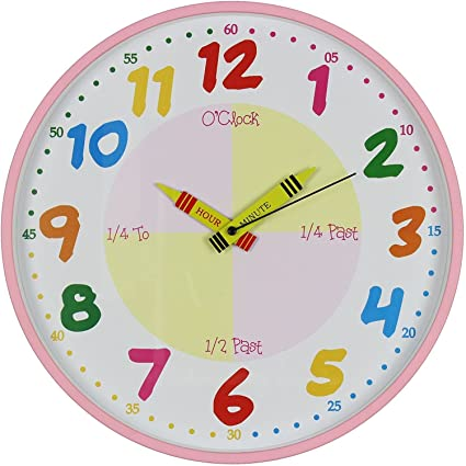 Amazon.com: wdd Hometime Teach The Time Colourful Wall Clock ...