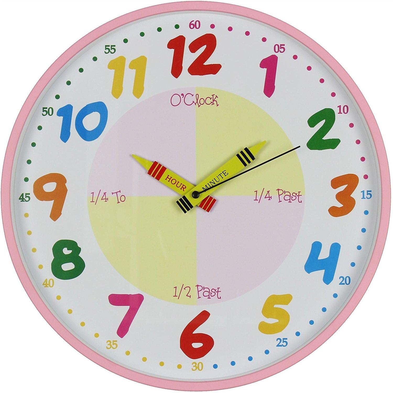 wdd Hometime Teach The Time Colourful Wall Clock, 30cm, Multi-Colour