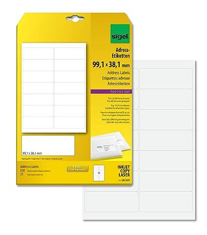 A4 99,10x67,70 mm Ink//Laser//Copy SIGEL LA322 Etiquetas para direcciones 200 Et.=25 hojas